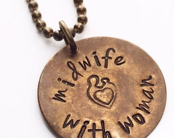Stamped Midwife Necklace