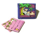 Vintage Snoopy Name and Address Card World Traveler Pink and Purple Plastic Snap Pouch Butterfly Originals Collectible