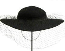 Black Wide Brim Diamond Veil Hat Bollman Hat Company Womens Doeskin Felt 100% Wool Dressy Hat