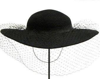 1960s Black Wide Brim Diamond Veil Hat Bollman Hat Company Womens Doeskin Felt 100% Wool Dressy Hat