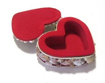 Heart Shaped Seashell Keepsake Jewelry Trinket Box Beach Cottage Souvenir What Not Stash Box Valentine Gift