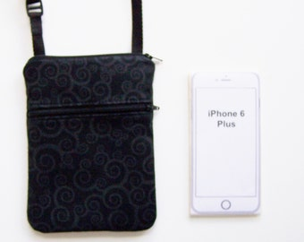 Small Purse, Cell Phone Crossbody, iPhone Case, Extra Long Strap, Black Purse