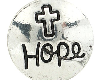 1 PC 18MM Cross Hope Silver Snap Candy Charm kb6812 CC1527