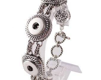 "1 Bracelet - 7"" FITS 18MM Candy Snap Charm Jewelry Silver KC0902 Cj0414"