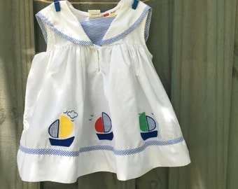 Vintage Boat Dress 24 Months Sailor 1980s Petit Amour