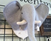 Elephant giraffe and zebra head mount nursery playroom decor fleece