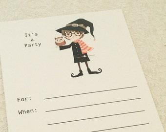 Harry Potter Birthday Party Invitation- Fill in the blank boy birthday party invitation-Set of 10