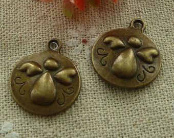 8 Angel Charms, Round Antique Bronze Tone 21 x 18 mm - bz402