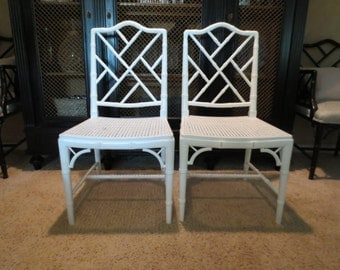 Set of two Chinese Chippendale Faux Bamboo chairs