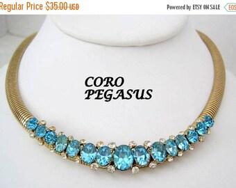 Coro Pegasus Choker Aqua Rhinestone Omega Collar Necklace