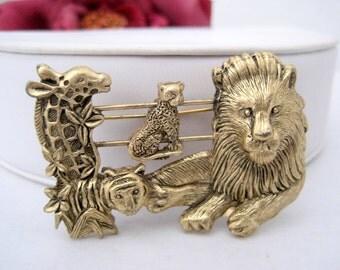 Animal Zoo Figural Brooch - Slide Pin - Lion Giraffe Monkey Pin