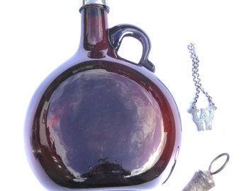 Victorian Amber Glass Decanter and Stopper Made in England Vintage Decanter Breweriana Antique Drinkware Vintage Barware