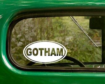 Gotham Decal, Gotham Sticker, New York City, Car Decal, Laptop Sticker, Oval Sticker, Bumper, Vinyl Decal, Car Sticker