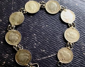 WWII Era Sweetheart Bracelet Anglophile Bracelet King George Queen Elizabeth Coins