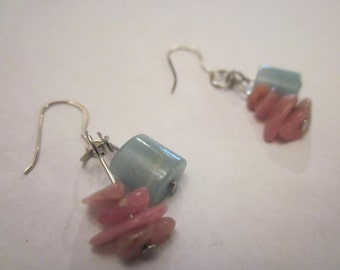 Natural Amazonite Rhodochrosite Gemstone Earrings Free Shipping