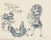 Alice In Wonderland SIGNED PRINT -Storyteller series-  Simona Candini Lowbrow Illustration Pop Surreal Moleskine Big Eyes Art Cheshire Cat