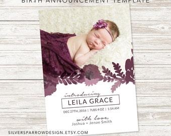 Custom Photo Birth Announcement, Watercolor Birth Announcement, Watercolour Digital Announcement, Floral Baby design, Dusty Rose