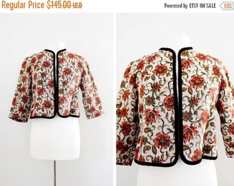 Vintage 50s Tapestry Jacket Boho Chic - Cropped Box Jacket 3/4 sleeves and Black Velvet Trim - New Look Bolero Jacket - Size Small to Medium