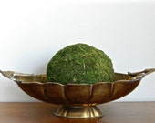 Vintage Brass Bowl Dish Urn Hammered Patinaed Brass Rustic Boho Chic
