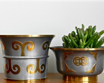 Vintage Planter Solid Pewter Brass Inlay Made in Hong Kong Asian Indoor Planter Chinoiserie Chic