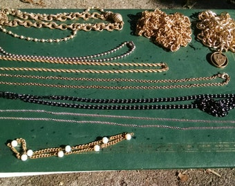 Destash of Mostly Vintage Jewelry Chains to Upcycle