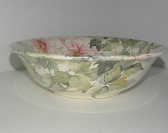 Pink Rose Floral HADIDA Round Bowl English Bone