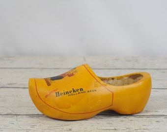 Vintage Heineken Beer Wooden Advertising Dutch Wooden Shoe Nice Condition