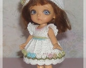 Lati White Multi Colored Row of Flowers Dress and Hat