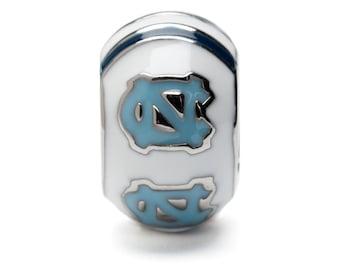 University of North Carolina White and Blue Bead Charm - Fits Pandora