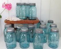 Vintage Clear Aqua Blue Pint Canning Jar Ball Perfect Mason Zinc & Porcelain Lid... listing is for one