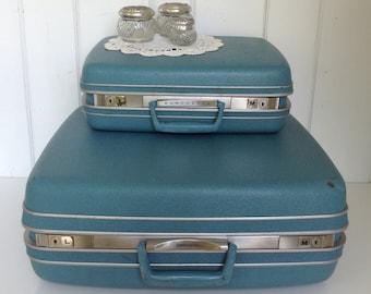 2 Vintage Blue Samsonite Silhouette Suitcases/Luggage 1 Wardrobe 1 Makeup Case with Blue Satin Interior Shwayder Bros. Inc. Denver Hinge