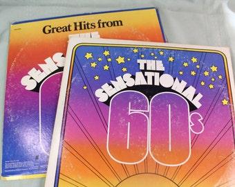 1960's Album Set- 33 rpm Vintage vinyl record LP albums- Set of two double albums- Greatest Hits, Love Songs- Mid Century- Turntable- retro