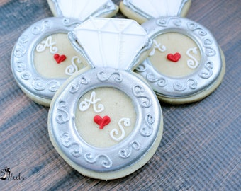 Wedding Ring Personalized Cookies, Engagement Rings, Wedding Favors, Bridal Shower Favors, Engagement Party Cookies, Custom Cookies, Hearts