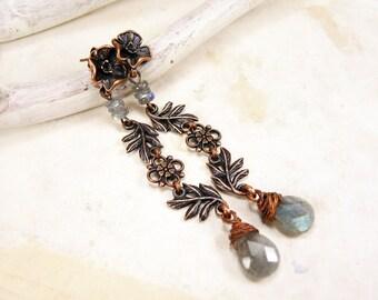 Copper Labradorite Earrings Stud Flower Earrings Studs Teardrop Long earrings Antique style
