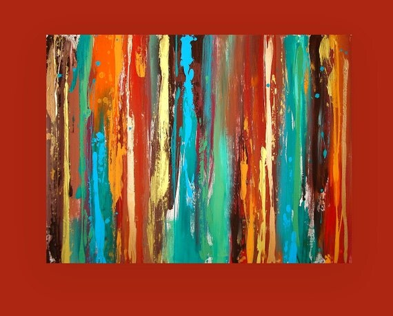 "Art, Abstract Acrylic Original Painting Fine Art Textured Modern Painting by Ora Birenbaum Titled: Fusion 2 30x40x1.5"""