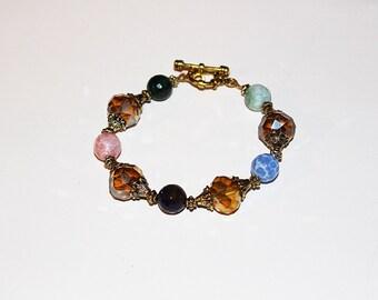 Multicolor Agate & Glass Bracelet