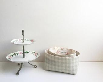 Cute Fabric Bin, Gingham Check Fabric Basket, Pink Floral Fabric Storage, Light Green, Essential Oil Storage, Key organizer, Gadget Case