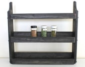 Wood Spice Rack, Rustic Spice Rack, Spice Shelves, Spice Cabinet, Rustic Kitchen Decor