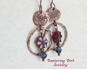 Red and Blue Glass Bead Flower Earrings, Long Stamped Copper Hoop Earrings, Boho Hammered Copper Jewelry, Summer Garden Jewelry