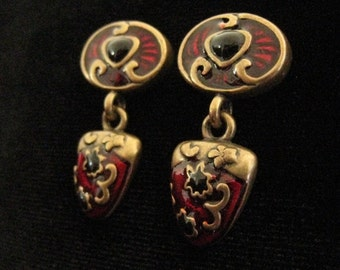 CLEARANCE CHICO'S  Enameled Drop Earrings.  DEEP Red Enamel and Black Accents. Antique Gold Design Work. 1990's Vintage