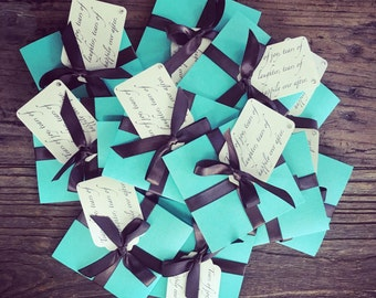 Tears of Joy tissue packets for Wedding ceremony Tiffany Blue and Brown