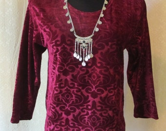 Long-Sleeve Baroque Maroon Velvet Blouse - Womens Large XL - 90s Grunge Revival Gypsy Top - Velvet Burnout Pattern - Stretchy Baroque V-neck