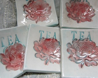 Set of Five Red Flowers Ceramic Tea Bag Holders