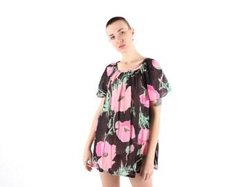 SALE - 80s POPPY Print Tissue Thin Sheer GAUZE Floaty Flutter Sleeve Floral Mini Tee Trapeze Swing Dress