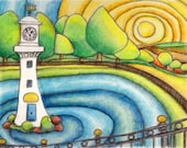 Roath Park Cardiff art print A4 from Original Drawing by Gayle Rogers Made in Wales