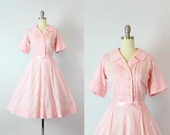 vintage 50s dress / 1950s pink cotton sundress / shirt waist dress / button down dress / chevron summer dress / Sweet Tooth dress