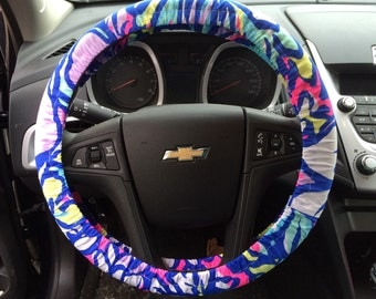 """Steering Wheel Cover made with Lilly Pulitzer's """"Catwalkin'"""" fabric"""