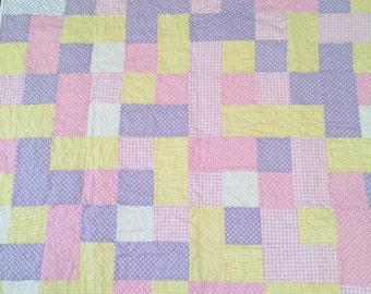"Baby girl patchwork quilt 36"" x 36"""