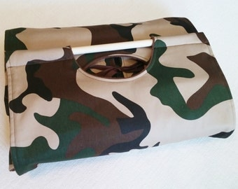Camo 9x13 Casserole Carrier - Free Shipping, Can ber Personalized - Olive Green, Tan & Brown, American Made