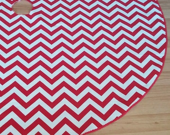 """Chevron 55"""" Red and White Christmas Tree Skirt - Scalloped Red Trim, American Made, Free Shipping"""